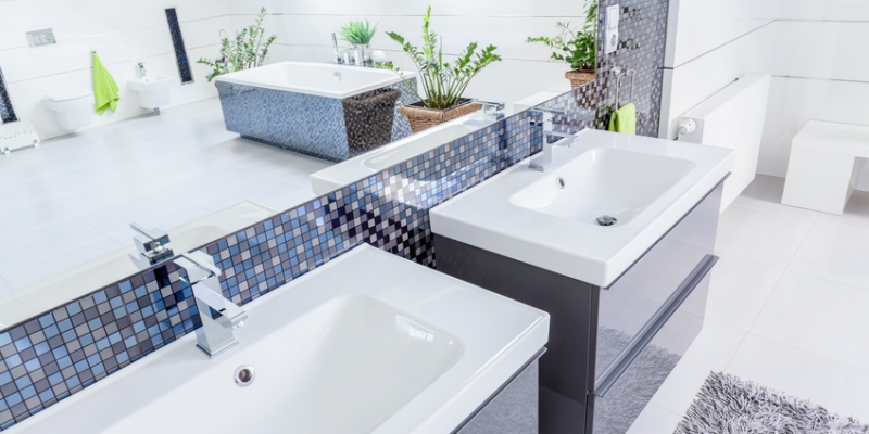 Close-up of two porcelain basins in modern bathroom